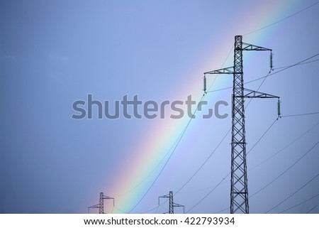 Effects arc of a rainbow near a high-voltage power line