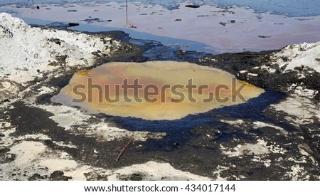 Effects nature from water contaminated with chemicals and oil. Environmental disaster, contamination of the environment, toxic, pollution, detail. Dump toxic waste. - stock photo