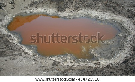 Effects nature from water contaminated with chemicals and oil. Environmental disaster, contamination of the environment, toxic, pollution, detail. Dump toxic waste. Europe, EU - stock photo