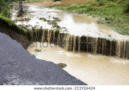 effects of flooding - a natural disaster in poland - stock photo