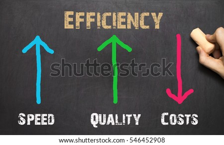 Efficiency Business Concept. On the black backgruond