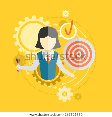 Efficiency concept in flat design. Gears teamwork with target concept. Raster version - stock photo