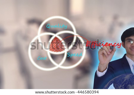 Efficiency  concept presented by  businessman writinging on  virtual  screen -image element furnished by NASA- SOFT SILVER TONE - stock photo