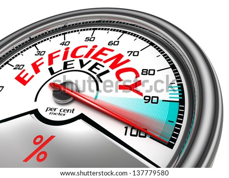 efficiency level conceptual meter indicate hundred per cent, isolated on white background - stock photo