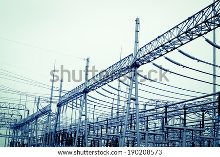 Efficient power transmission tower of sky background
