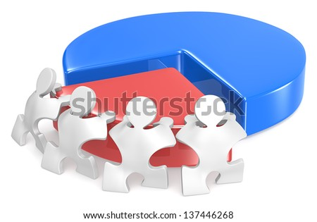 Effort and Result. Puzzle people x 4 pushing part of Pie Chart. - stock photo