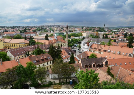 Eger aerial view , Hungary - stock photo