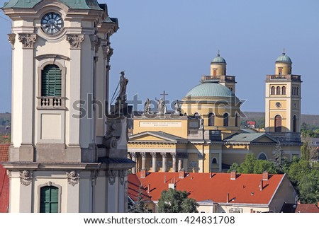 Eger Hungary Cathedral and basilica - stock photo