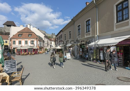 EGER, HUNGARY - MARCH 21 2016: The downtown off Eger, the county seat of Heves, and the second largest city in Northern Hungary (after Miskolc).