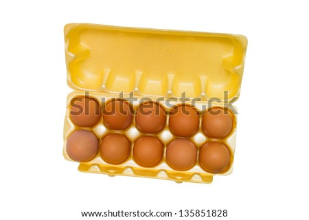 egg box packaging grid eggs isolated on white background (clipping path) - stock photo
