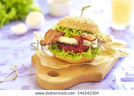 Egg burger with tomato, salad, onuion and fried bacon - stock photo