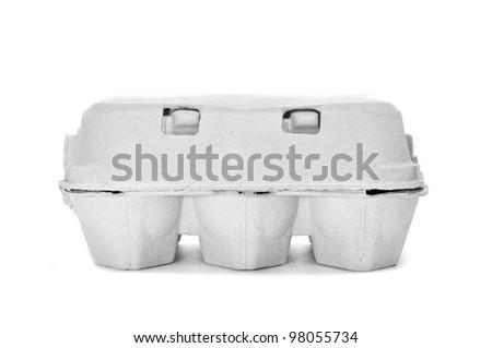 egg carton on a white background - stock photo