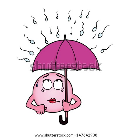 Egg cell holding an umbrella against a rain of sperm. - stock photo