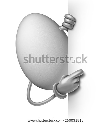 Egg character blank sign concept as an oval shell with hands holding a white banner with copyspace as a symbol for food ingredients in baking and cooking or breakfast message. - stock photo