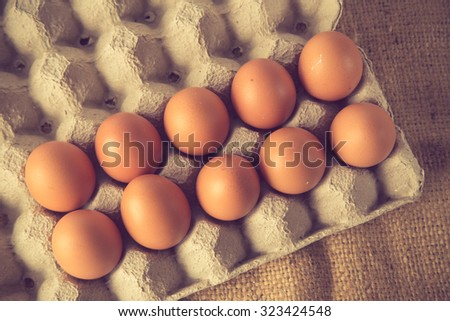 Egg, Chicken Egg vintage color - stock photo
