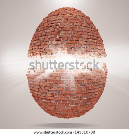 egg concept 3d render background - stock photo