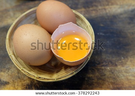 Egg food background wood