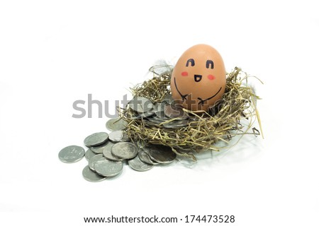 egg in a nest on coins white background