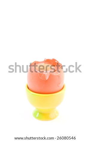 egg in green eggcup  isolated on white. easter
