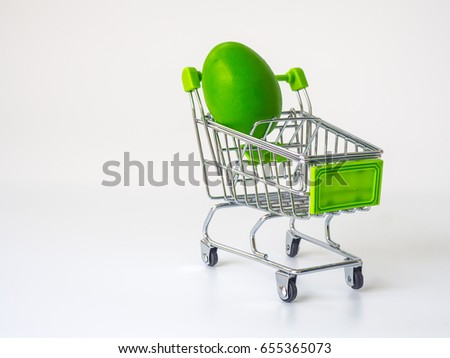 Egg in shopping cart with bright color.