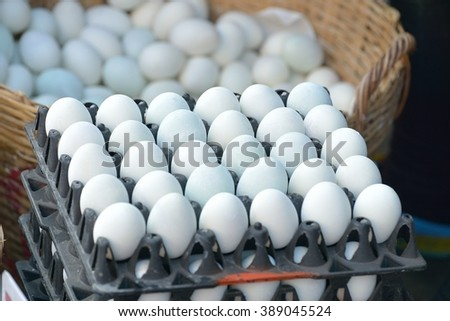 egg in the egg plate : Selective focus - stock photo