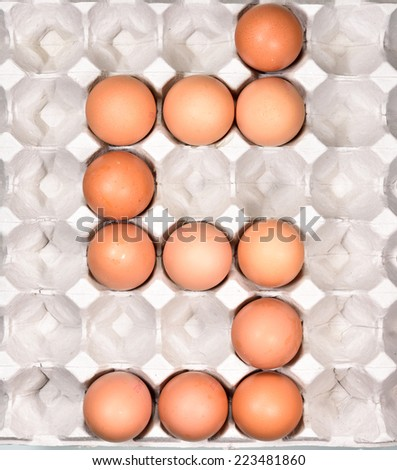 Egg in the package arrange be the english alphabet S