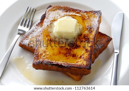 egg nog french toast - stock photo