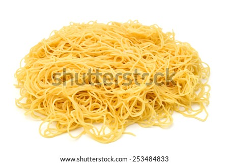 egg noodles isolated on white