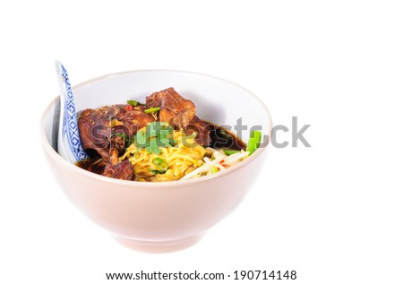 egg noodles with pot-stewed duck in boel - stock photo