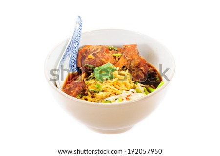 egg noodles with pot-stewed duck in boel