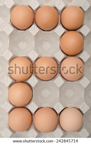 egg number in tray - stock photo