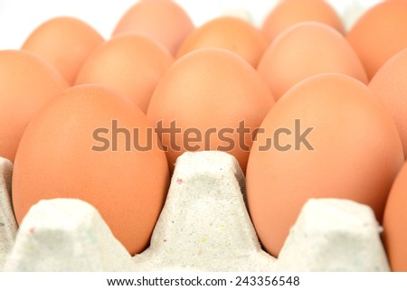 egg on carton package  - stock photo