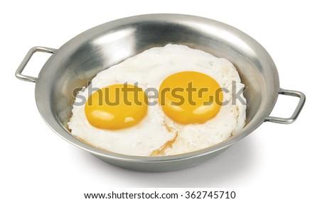 egg pan fried breakfast yolk fry fried protein morning - stock photo