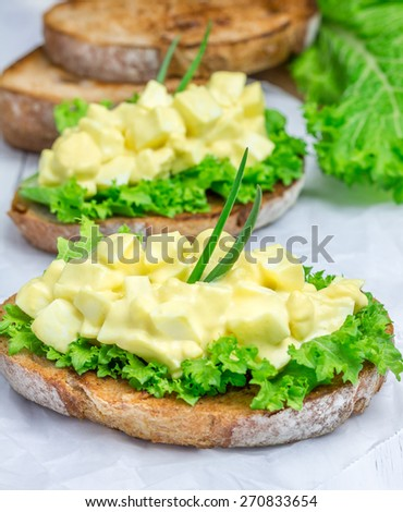 Egg salad and lettuce on nut bread garnished with green onion - stock photo