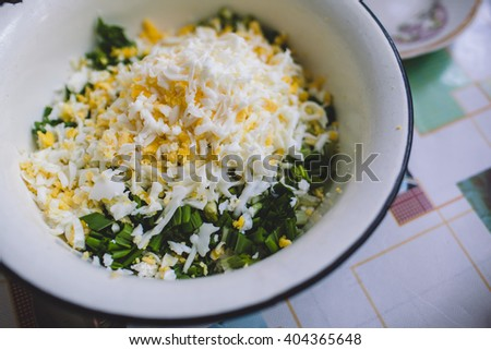 egg salad with wild garlic and cheese