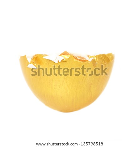 Egg shell isolated - stock photo