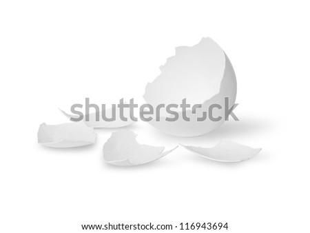 Egg shell on white background - stock photo