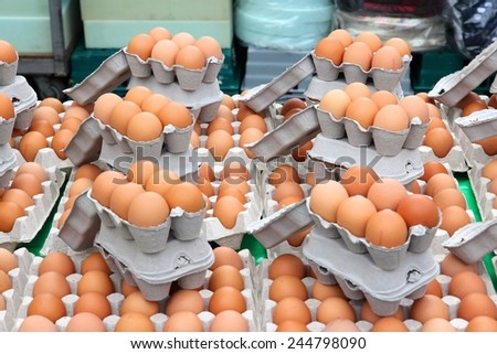 Egg stand at a marketplace in Birmingham, United Kingdom. Farmers market. - stock photo