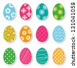 egg stickers (raster version of the vector) - stock photo
