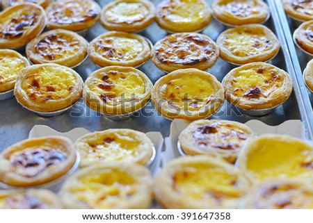 Egg tart on tray (Selective Focus)