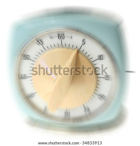 egg timer or one hour cooking clock. time equipment isolated on white