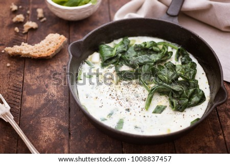 Egg whites omelette with spinach