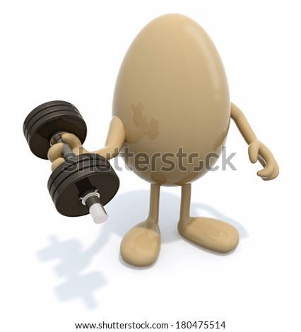 egg with arms and legs does weight training, 3d illustration