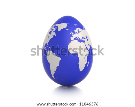 egg with earth texture on white