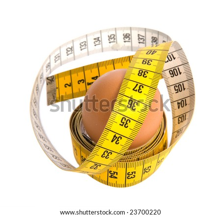 Egg with meter on white