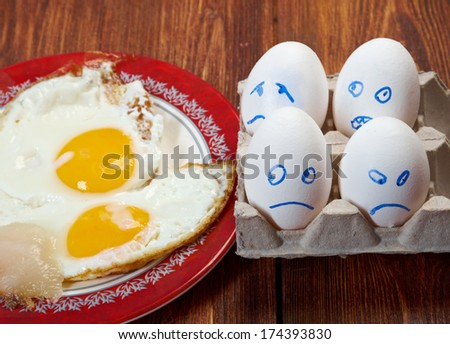 Egg with scared face and fried egg. closeup concept,  - stock photo