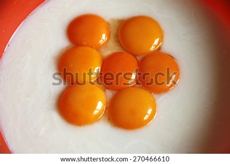 Egg yolk closeup as a background. Raw eggs in a bowl - stock photo