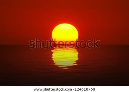 Egg Yolk Sunset - stock photo