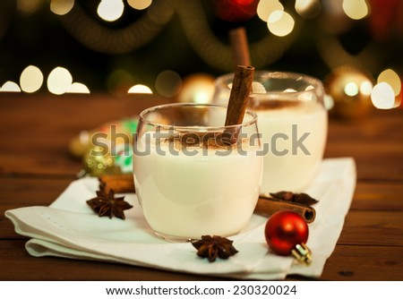 Eggnog with Cinnamon and Nutmeg at Christmas Time - stock photo