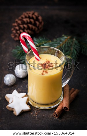 eggnog with cinnamon powder and cookies  - stock photo